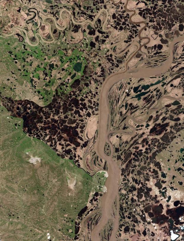 La région de Tcherskii en Sibérie observée le 11 juin 2017 par le satellite européen Sentinel-2A.